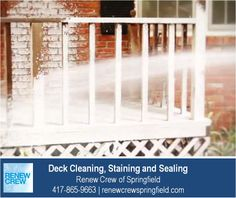 http://renewcrewspringfield.com – The deck cleaning process begins with Renew Crew's proprietary cleaning solution to loosen dirt and mildew. This solution is sprayed on and is 100% safe to your plants, kids and pets. We serve Springfield MO plus Greene, Christian, Webster, Polk and Dallas Counties. Free estimates.