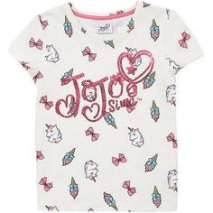 606be278178f Jojo Siwa Girls Unicorn T-Shirt Top Age 6 7 8 9 10 11 Years Cream Pink