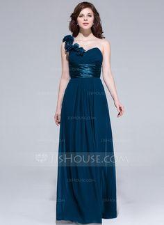 A-Line/Princess One-Shoulder Floor-Length Chiffon Bridesmaid Dress With Ruffle Flower(s) (007037284)