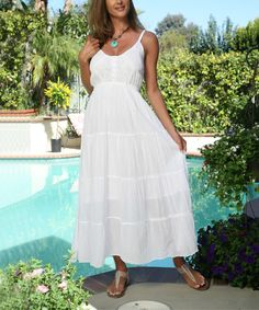 Look at this Ananda's Collection White Button-Up Maxi Dress - Women on #zulily today!
