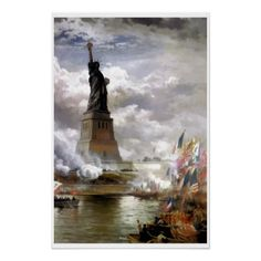 Unveiling the Statue of Liberty painting Print (inspired by Edward Moran)