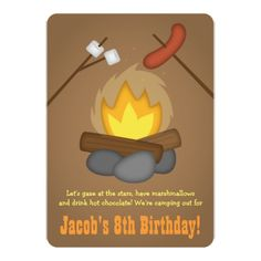 Camping Birthday Party Invitations Bonfire Camping Birthday Party Card