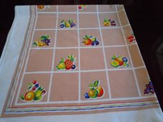Mid Century 1950's Cotton Tablecloth Fruit by FabricsAndFinery