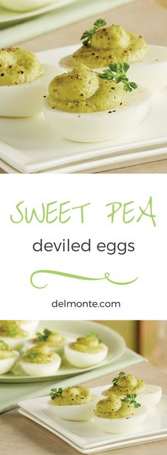 Sweet Pea Deviled Eggs - Eat your veggies with these deviled eggs made with peas and avocado. A simple, tasty twist on a classic! #10MINUTEWOW #DELMONTECONTEST