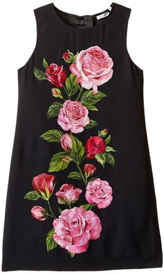 Dolce & Gabbana Rose Cadi Sleeveless Dress Girl's Dress Fabric Painting On Clothes, Fabric Paint Shirt, Dress Painting, Painted Clothes, Silk Painting, Embroidery Suits Design, Embroidery Dress, Hand Embroidery Designs, Saree Painting Designs