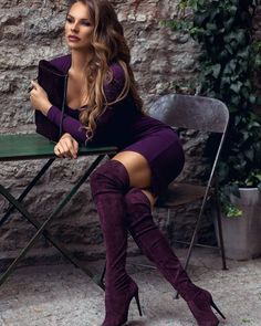 purple natalie pflug overknee stiefel - The world's most private search engine Sexy Outfits, Sexy Dresses, Cute Outfits, Fashion Outfits, Womens Fashion, Fashion Styles, Fall Outfits, Outfit Vestidos, Sexy Stiefel