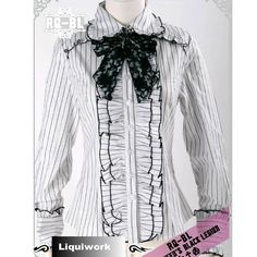 Ladies Long Sleeve White Stripe Fashion Gothic Lolita Dress Shirt SKU-11407125 ~I think it will do without the shirt lines