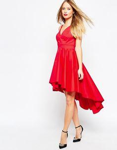De fedeste ASOS Prom Dress With High Low Hem - Red ASOS Skater Kjoler til Damer i dejlige materialer