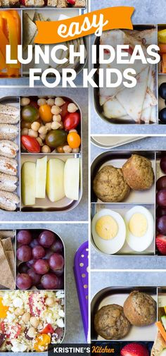 Easy Lunch Ideas for Kids! Quick ideas for school and at home lunches. Perfect for toddlers and picky eaters! #schoollunch #lunchideas Healthy School Lunches, Healthy Meals For Kids, Kids Meals, Healthy Eating, Lunch Recipes, Cooking Recipes, Healthy Recipes, Easy Recipes, Dinner Recipes