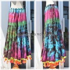 Tie-dye hippie wide flare pants  #fashion #hippie #rainbow #naturaleeza