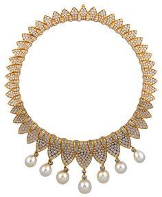Fred - Vintage - Parure Collier et Pendants d'oreilles - Or, Perles et Diamants - 1995