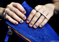 NAILS DID : Overlapping V Manicure w/stipple embelishments. Mattebe Elite Neon Blue, American Apparel Neon Coral, Sally Hansen Nail Art Pen White Nail Art + Photography by : Christina Rinaldi