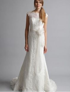 Lace Jewel Neckline Sheath 2013 Wedding Dress with Illusion Overlay - Bridal Gowns - RainingBlossoms