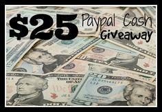 Need extra cash? Enter to win $25 worth of paypal cash!  Worldwide Giveaway Sweepstakes