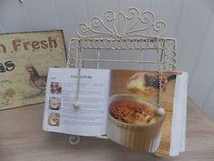 Shabby Chic Cream Metal Recipe Book Holder Stand / Music   eBay