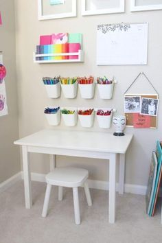 Childrens Desk And Chair, Desk And Chair Set, Ikea Art, Diy Home Decor, Room Decor, Kid Decor, Nursery Decor, Ikea Storage, Art Storage