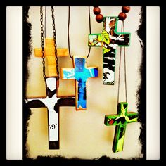 Recycled skateboard cross necklaces. Jewellery, skateboards, skateboards, skateboards :-)