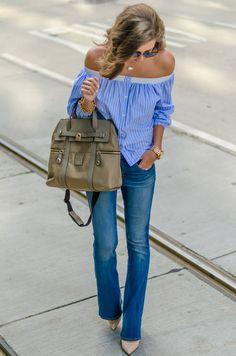 Flared Jeans Striped Off The Shoulder