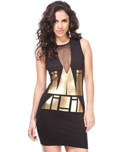 Miso Gold Foil Bodycon Dress    £25.00