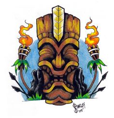 I decided to draw a tiki head. KU - the tiki war god. Tiki Tattoo, Hawaiianisches Tattoo, Maori Tattoos, Tattoo Drawings, Hand Tattoos, Sleeve Tattoos, Hawaiian Tiki, Hawaiian Decor, Torches Tiki