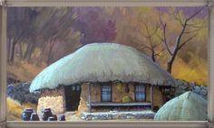 초가집 Art Pictures, Art Pics, Landscape Paintings, Landscapes, Korea, Houses, Scenery, Art Images, Paisajes