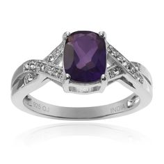 Journee Collection Sterling Silver 1 1/10 ct Amethyst and Topaz Ring (Size- 5), Women's, Purple