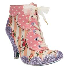 Dolly Mixture Pink - These lace up boots scream harajuku cute! Their floral candy stripe upper and spotty fabric and glitter scalloped edges are so sweet they will send you into a sugar rush.