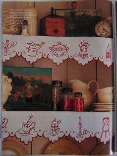 Cupboard decoration in Redwork