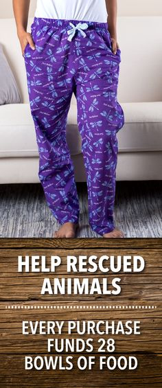 "Find inspiration while relaxing! These lounge pants remind you to ""Just Believe"" while dragonflies gracefully fly across luxuriously soft purple cotton."