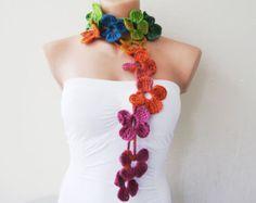 Crochet flower necklace Lariat flower wrap scarf by myheartt