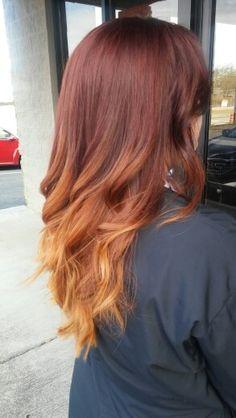 Red bayalage. Red hair. Long hair.