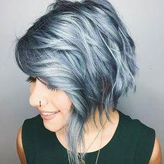 Choppy Hair, Silver, Grey, Blue, Short, Pixie, Girl, Colour