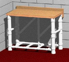 PVC Workbench, would make an awesome craft table you can store when not in use. Think sewing table too with a little tweaking for the foot peddle.