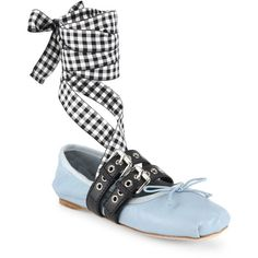 db96404fa5a Miu Miu Double Strap Leather Lace-Up Ballet Flats ( 670) ❤ liked on