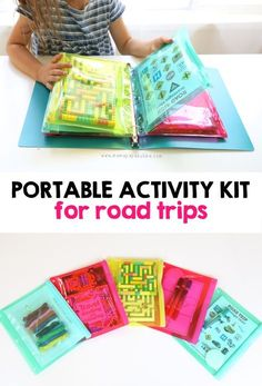 EASY Portable Activity Kit for Road Trips – Mama. EASY Portable Activity Kit for Road Trips – Mama.,travel After travelling all over the world with Miss G {hello 36 hour treks to and from Kuwait! Kids Travel Activities, Road Trip Activities, Road Trip Games, Infant Activities, Car Activities For Toddlers, Road Trip Food, Car Trip Snacks, Road Trip Crafts, Toddler Airplane Activities
