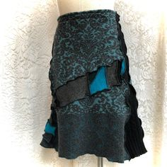 Upcycled Wool Sweater Skirt, A-Line, Black, Grey and Turquoise Patchwork, #SK468