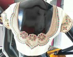 multicolour work on offwhite#handwork#designer#blouse#embroidery