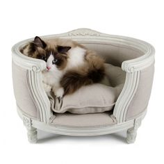 George Ecru Linen Luxury pet bed Louis XVI style with striking curved solid oak frame. Louis Seize, Luxury Pet Beds, Elevated Dog Bed, Pallet Dog Beds, Son Chat, Canapé Design, Pet Home, Animal Decor, Grey Bedding