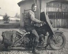 WLA Harley-Davidson --- Photo Courtesy of Joe Bennett. Rider is Private Joseph L. Bennett, at Fort Lewis, WA, late in 1942.