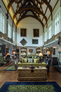 Stunning interior design of the Great Tudor Hall at Fawsley Hall Hotel in Northamptonshire with sophisticated details and historic features