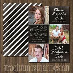 Twin Graduation Announcement from www.tracihuntsmandesign.com #graduation #announcement #custom #twin