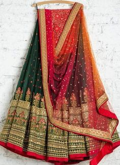 Dark green Georgette lehenga choli dupatta bridal wedding wear designer lengha choli/blouse latest e