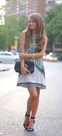 Aztec Print Dress + Strappy Ankle Pumps