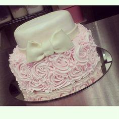 Baptism rosette cake by www.goldenbakeryrd.com