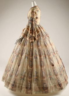French cotton day dress, c. 1865