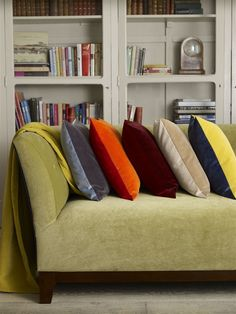 A selection of colours this gorgeous Italian velvet is available in; Cushions left to right: LF1498C/40 - Atol (cushion back). LF1498C/50 - Iron (cushion front). LF1498C/28 - Vermillion (back). LF1498C/18 - Orange (front). LF1498C/30 - Mulberry (back). LF1498C/29 - Brick (front). LF1498C/4 - Biscuit (back). LF1498C/9 - Latte (front). LF1498C/43 - Navy (back). LF1498C/31 - Lemon (front). Sofa - LF1498C/32 - Wattle.