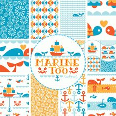 Dan Stiles for Birch Organic Fabrics, Marine Too, Entire Collection 10 FAT QUARTERS in Total