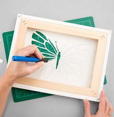 cut out canvas art Cut Out Canvas, Light Up Canvas, Stencil Art, Stencil Designs, Diy Wall Art, Diy Art, Kirigami, Canvas Crafts, Canvas Art