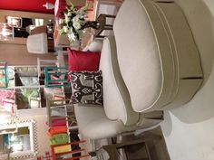 oomph tini loveseat and new ottoman on casters! Like a cozy chaise for 2!