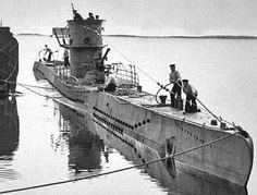 German U Boat tying up at a dockside
